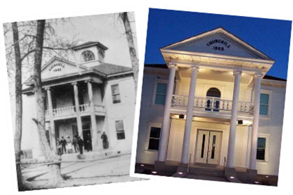 Courthouse in early 1900s and today.